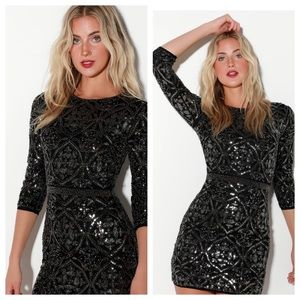 Lulu's Bright Night Black Beaded Sequin Dress. New